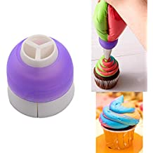 CupCake Decorating Tool Swirl 3-Color Coupler Icing Piping Bag Nozzle Converter