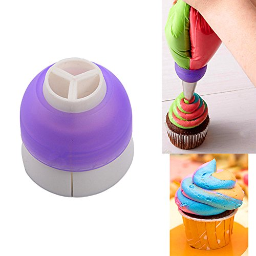 - Villy CupCake Decorating Tool Swirl 3-Color Coupler Icing Piping Bag Nozzle Converter