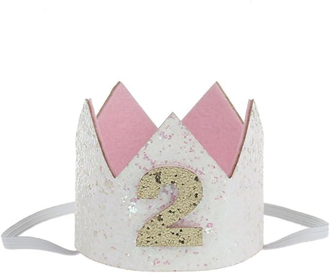 Image ofKicode cumpleaños Corona Banda para el Cabello Bebé Resplandecer Accesorio para el Cabello Headwear Regalo Blanco