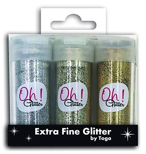 Toga Trio Extra Fine Salt Shakers, Glitter, Silver/Champagne-Gold, Bottle Height: 6.5 cm (Bottle Flacon)