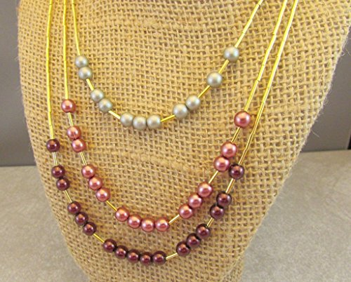 Triple Strand Czech Glass Pearl Druk Beads and Celestial Crystal Beads and Liquid Gold Tube Necklace