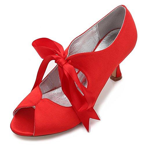 Y Satén Tacón P17061 Toe 22 Para Con Peep Zapatos Mujer Alto Red De Novia Verano Encaje Cinta L yc IfpxXX