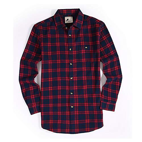0c27fad7725 Joey CV Mens Flannel Shirts Plaid Regular Fit Long Sleeve Casual Button  Down Shirts(Navy-16298,Medium)