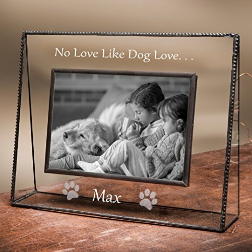 J Devlin Pic 319-46H EP592 Personalized Dog Picture Frame Engraved Glass 4x6 Horizontal Engraved Pet Photo Keepsake - Engraved Glass Picture Frame