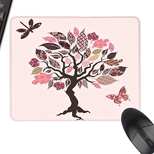 Dragonfly Extra Large Mouse Pad Authentic Tree with Ethnic Patch Leaves and Dwelling Haven Property Artwork Print with Stitched Edges 35.4
