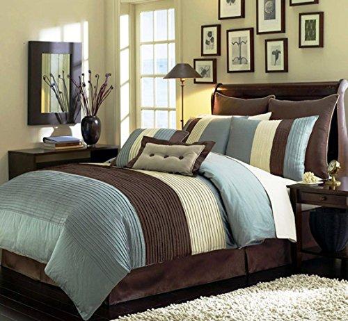 Chezmoi Collection 8-Piece Luxury Stripe Duvet Cover Set, Blue/Beige/Brown, - Brown Blue