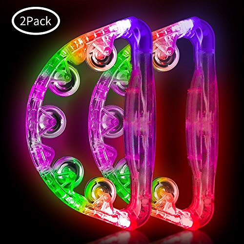 Light Up Tambourine Musical Flashing Tambourine Handheld Percussion Instrument for Kids and Adults Party Toys 2 Pack