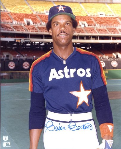 (Cesar Cedeno Autographed/ Original Signed 8x10 Color Photo Showing Him with the Houston Astros)