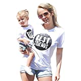 LONGERA Mommy and Me Shirts, Parent-Child Best Friend Print Shirt Family Clothes Outfits (Mom S, Mom White)
