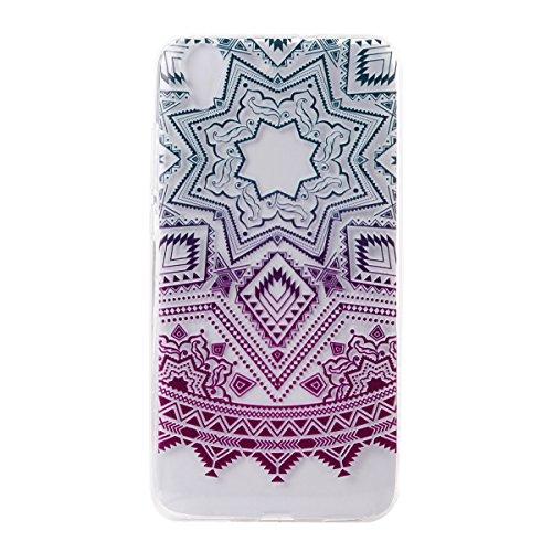 Huawei Y6 II Funda, SsHhUu Hybrid Totem Light Weight Flexible Durable Transparent Ultra Slim Soft TPU Gel Silicone Protective Rear Skin Cover Funda para Huawei Y6 II / Honor Holly 3 5.5 Verde-Morado