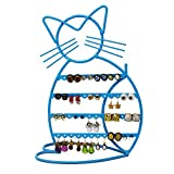 Cat Shape Metal Wire Earring Holder/ Organizer / Hanger Display Stand by ARAD (Blue Finish)