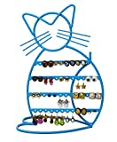 ARAD Metal Jewelry Cat, Holder Organizer-Hanging Jewelry Display for Earrings & Other Piercings (blue finish)