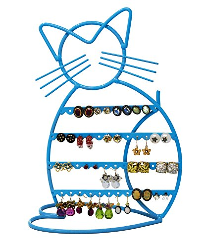 Tree Shape Earring (Cat Shape Metal Wire Earring Holder/ Organizer / Hanger Display Stand by ARAD (Blue Finish))