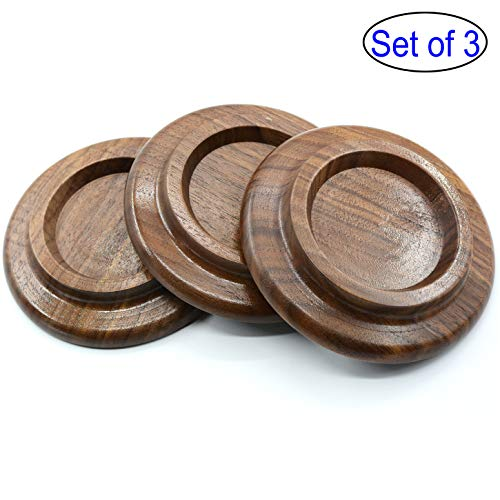 [3 Pcs] Grand Piano Caster Cups Solid wood Caster - Non-Slip & Anti-Noise Foam Pad (Walnut) ()
