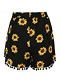 CHARLES RICHARDS CR Women's Black Sunflower Printed High Elastic Waist Pom Poms Shorts