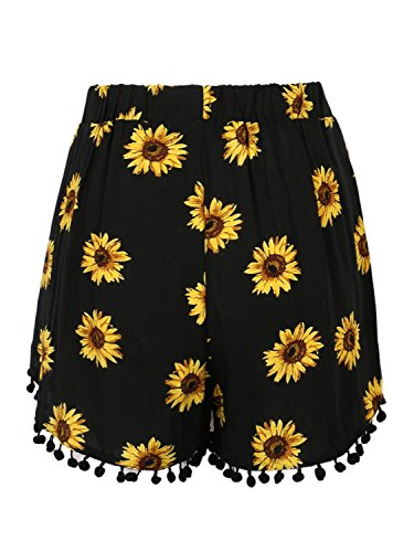 CHARLES RICHARDS CR Women's Black Sunflower Print High Waist Pom Poms Shorts (Small) by CHARLES RICHARDS