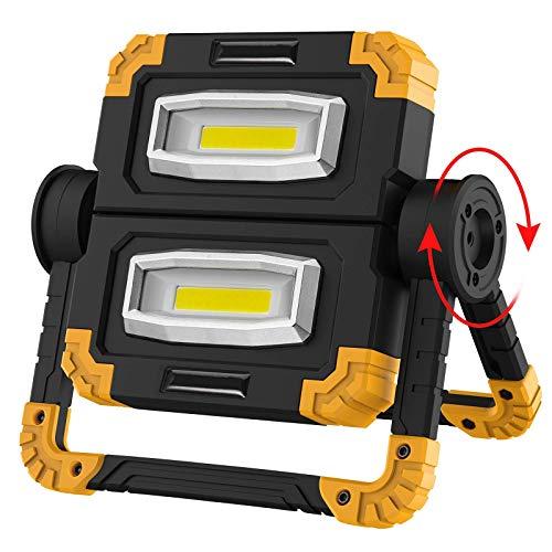 WOERD LED Baustrahler, 20W Faltbares LED Arbeitsleuchte, Wiederaufladbares Arbeitslicht Mit 360 ° Drehung Wasserdicht…