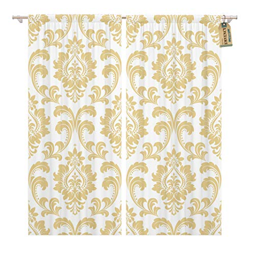 - Golee Window Curtain Flourishes Floral Pattern Baroque Damask White and Gold Royal Home Decor Rod Pocket Drapes 2 Panels Curtain 104 x 84 inches