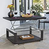 Great Deal Furniture Lanie Outdoor Multibrown Wicker Aluminum Framed Lift Top Coffee Table