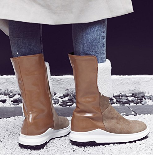 Toe Snow Boots Aisun On Flat Fur Brown Casual Booties Women's Platform Pull Lined Warm Waterproof Round Faux Ankle rIZ6xI4q