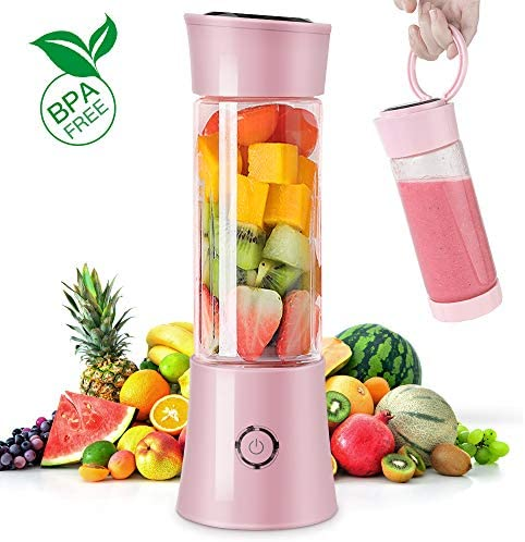 Portable Blender-Kamspark USB Rechargeable Smoothie Blender Small Blender for Work, Blending Ice Cubes Frozen Fruit Portein Smoothie Milk Shakes, Strong Motor 22000 RPM Speed, 100 Watts, Pink