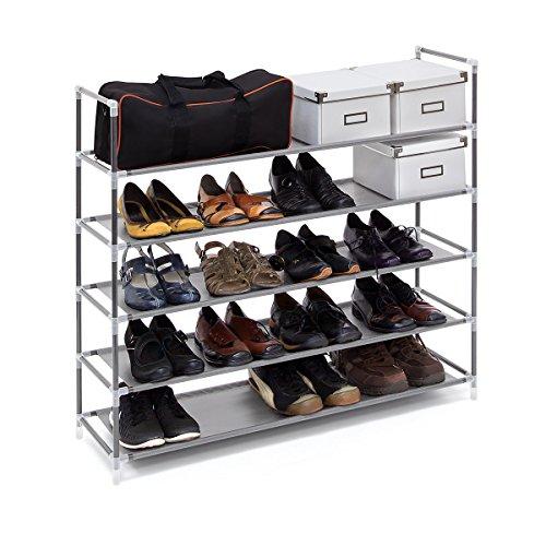 Relaxdays Schuhregal mit Griffen H x B x T: ca. 90,5 x 87 x 29,5 cm Schuhablage aus Vlies-Gewebe mit 5 Ablagen für 25 Paar Schuhe als Schuhständer und Schuhschrank beliebig erweiterbar Regal, grau