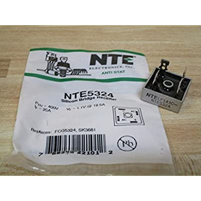 NTE NTE5324 Bridge Rectifier, Single Phase, 25A 400V Though Hole; NO. of Phases:Single Phase; REPETITIVE Reverse Voltage VRRM MAX:400V; Forward Current IF(AV):25A; Bridge Rectifier CASE Style:Module;: Industrial & Scientific