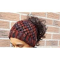 Crochet Messy Bun Ponytail Hat