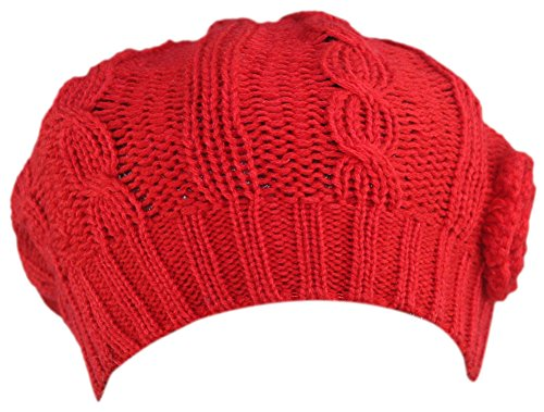 MINAKOLIFE Women Crochet Braided Knit Flower Beret Baggy