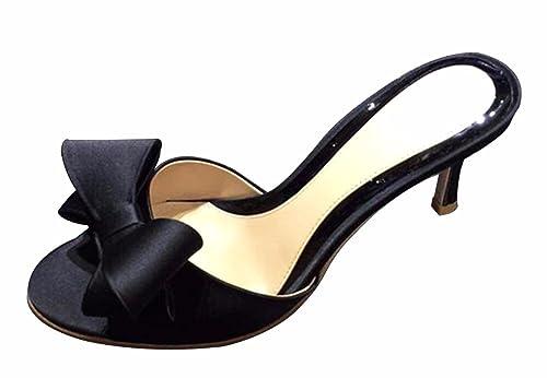 Superbe Jiu Du Womenu0027s Kitten Heel Slippers Cute Bow Heeled Sandals Slip On  Slingback Open Toe Bedroom