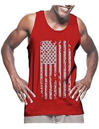 Mens Silver American Flag Tank Top T-shirt