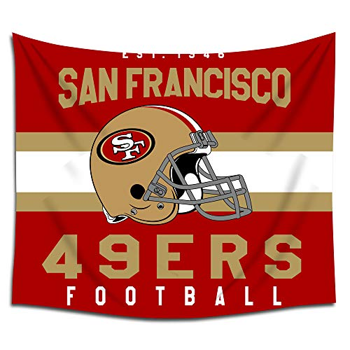 (Jacoci San Francisco 49ers Wall Tapestry Hanging Stripe Design for Bedroom Living Room Dorm Handicrafts Curtain Home Decor Size 50x60 Inches)