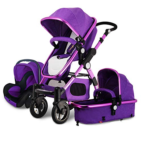 Luxury Baby Stroller and car seat Combo, Baby bassinets Folding pram 2-1 3 in 1 Strollers Reversible Baby Carriage (Purple 3-1)