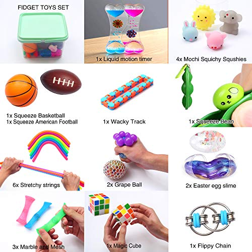 24 Pack Bundle Sensory Fidget Toys Set-Liquid Motion Timer/Grape Ball/Mochi Squishy/Stretchy String/Flippy Chain/Easter Egg/Marble Mesh/Squeeze Bean/Cube for Autistic Kids, ADHD, Anti-stress Toys