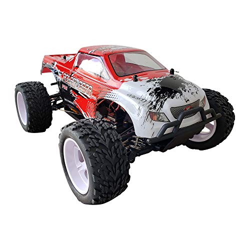 FunTech RC Car RTR (Ready to Run), Flame Remote Control Car 1/10 Scale Brushless Electric RC Truck, RC Racing Monster Cars, 2.4-Ghz Radio RC 4WD High Speed, Red