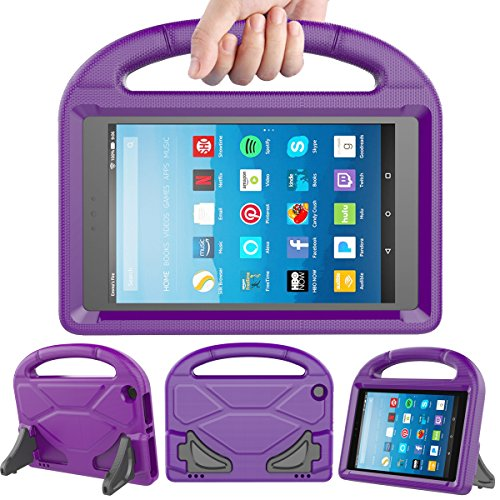 LEDNICEKER Kids Case for Fire HD 8 2017 - Light Weight Shock Proof Handle Friendly Convertible Stand Kids Case for Fire HD 8 inch Display Tablet (7th Generation, 2017 Release) - Purple