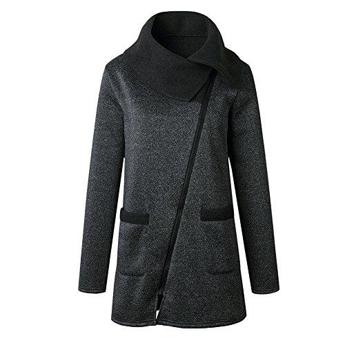 Jacket Deylaying Outwear Coat alto cremallera más largo con bolsillos sudadera Casual Mujeres Gris tamaño invierno oscuro cuello Único rwqCErg