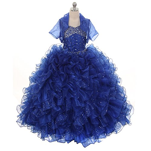 Rain Kids Little Girls Royal Blue Sequin Sparkly Ruffle Bolero Pageant Dress 6 by The Rain Kids