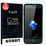 J&D Compatible for 3-Pack iPhone 8 Plus/iPhone 7 Plus Glass Screen Protector, [Tempered Glass] [Not Full Coverage] Ballistic Glass Screen Protector for Apple iPhone 8 Plus Screen Protector