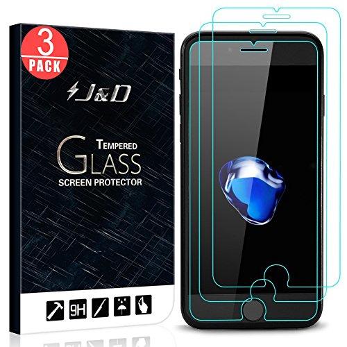 Price comparison product image [3-Pack] iPhone 8 Plus Screen Protector, iPhone 7 Plus Screen Protector, J&D Glass Screen Protector [Tempered Glass] HD Clear Ballistic Glass Screen Protector for Apple iPhone 8 Plus / iPhone 7 Plus