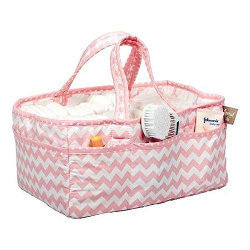 (Pink Sky Zig Zag Chevron Baby Girls Storage Caddy Organizer Tote )