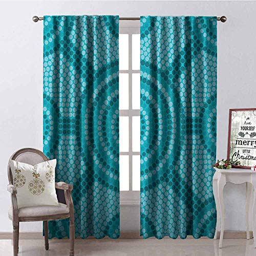 Gloria Johnson Teal Blackout Curtain Abstract Aboriginal Dot Painting Ancient Native Ethnic Primitive Cultural Art in Australia 2 Panel Sets W52 x L84 Inch Teal (Outdoor Australia Furniture Bamboo)