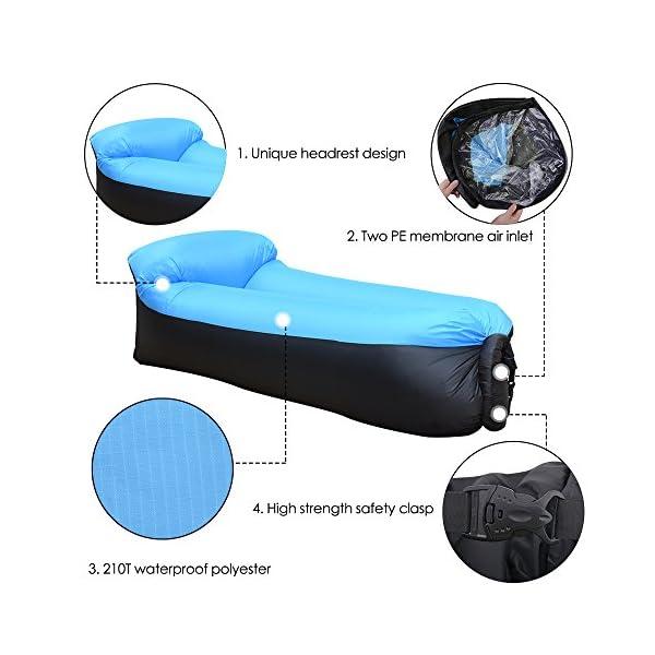 51F9VeEJbnL IREGRO Aufblasbares Sofa, Wasserdichter Aufblasbares Liege, Luftsofa Luftsack, Tragbares Air Lounger, Luftsack Sitzsack…