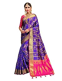 Elina fashion Indian Bollywood Sarees for Women Patola Silk Woven Saree l Tradional Wedding Wear Sari with Unstitched Blouse
