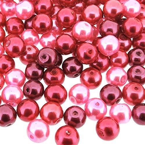 Beads Direct USA Glass Pearl Mix 100pcs Luster Round 8mm - Pink Fusion Mix