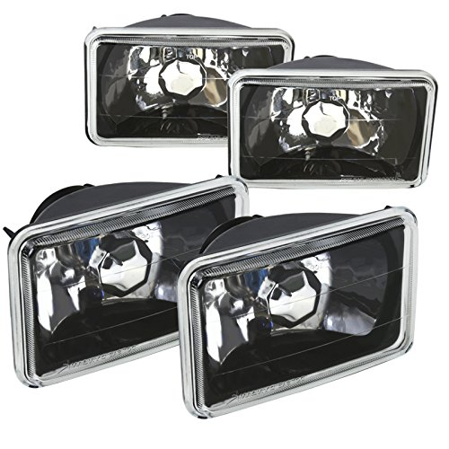 Black 4PC 4X6 Square Diamond Cut Crystal Halogen Headlights Lamps w/ H4 Bulbs