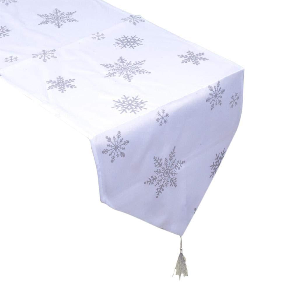 Chemin de Table No/ël Nappe Rectangulaire Motif de Flocon de Neige en Polyester No/ël Decoration Table 35 x 200CM Fablcrew