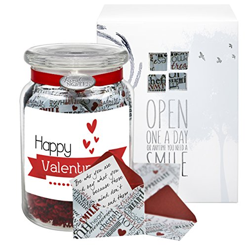 Glass KindNotes INSPIRATIONAL Keepsake Gift Jar of Messages for Him or Her Birthday, Thank you, Anniversary, Just Because - Expressions Valentine's Day
