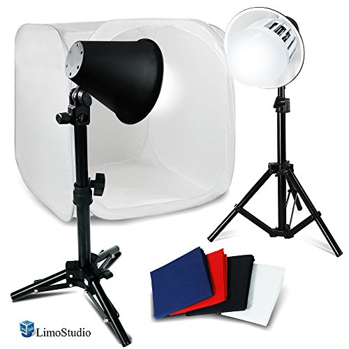 LimoStudio Photography Photo Studio 30 Inch Light Tent Kit, 1 x 30'' x 30'' Table Top Light Tent, 2 x 45 Watt 6500K Daylight Fluorescent Light Kit, 4 x Backgrounds - White Black Blue Red, AGG379V2 by LimoStudio