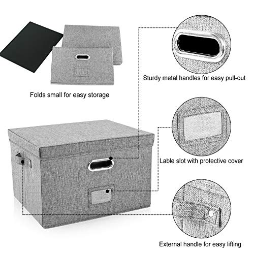 Decosis File Storage Organizer Box with Lid for Office, Collapsible Linen Organization with Hanging Folder for Home, Document Storage with Handles for School, Grey